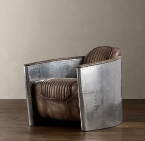 Fauteuil aviateur vintage cuire et aluminium riveté