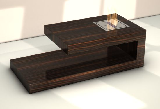 table basse coffee table avec foyer bio-éthanol