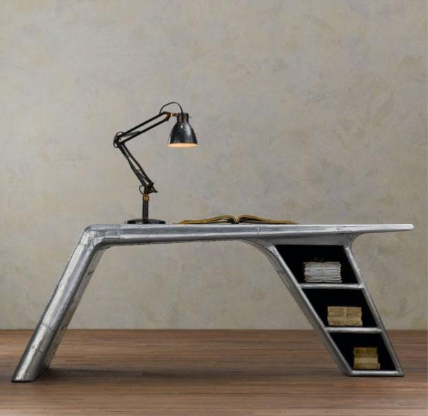 bureau aviateur spitfire en métal et bois - Meuble Design Metal