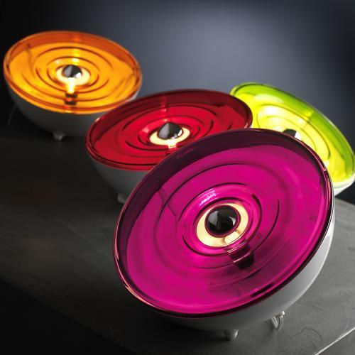 lampe Moon coloris vert, rouge, et violet