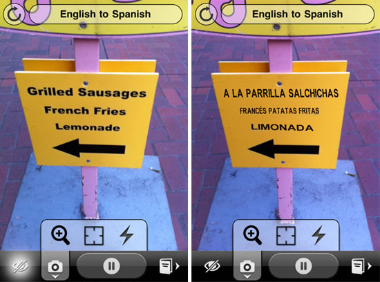 exemple de traduction via Word Lens pour iphone