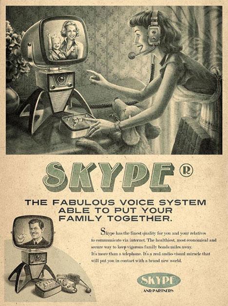 Affiche skype vintage