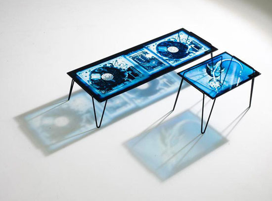 table basse Diesel impression platine DJ