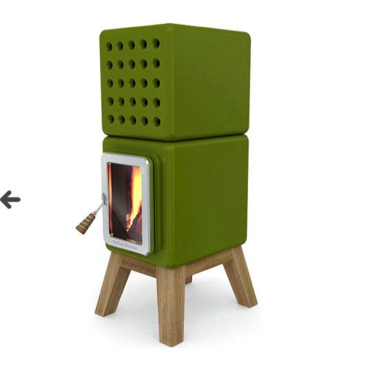 Poêle à bois Stack par Adriano Design - Pile Noire