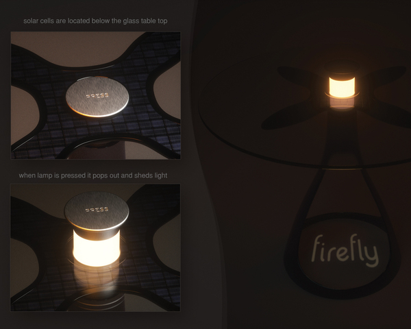 Table Firefly - détails lampe solaire