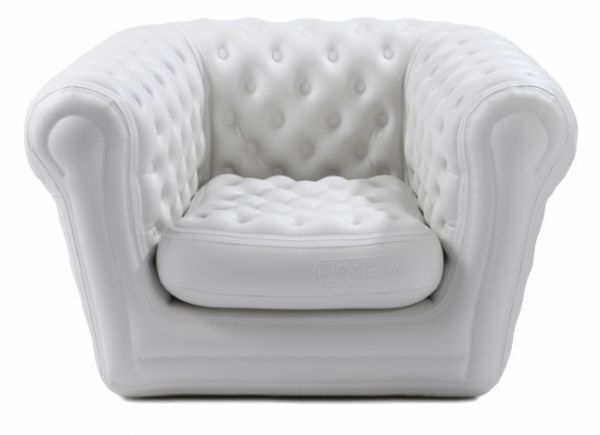 Fauteuil style Chesterfield gonflable - blanc