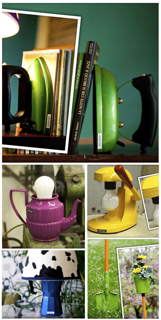 Objets recylés en lampes