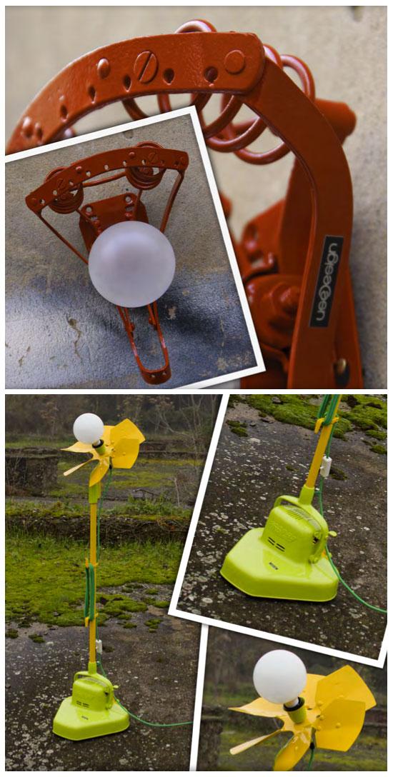Objets recyclés en lampadaires ou en appliques