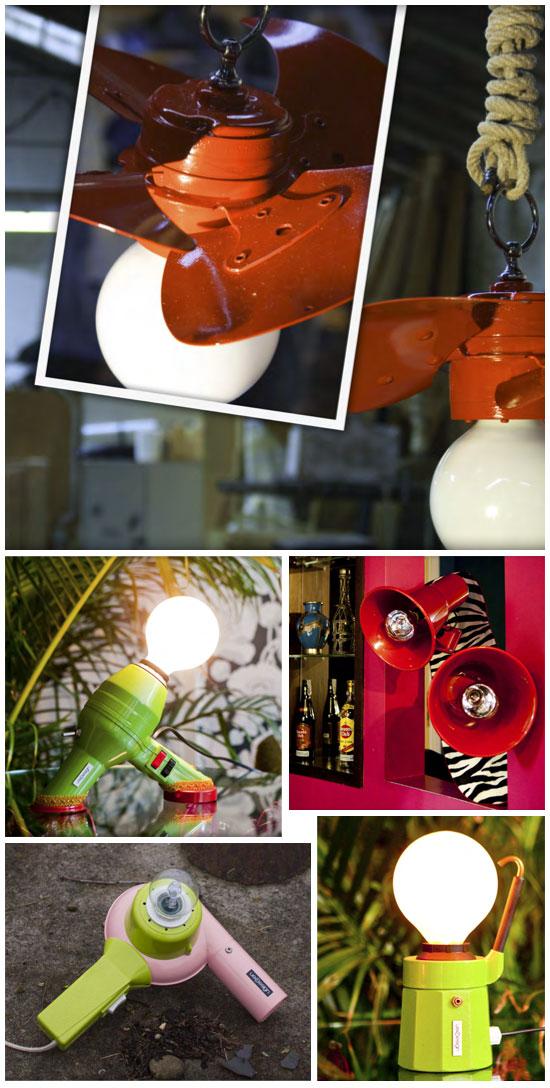 séchoirs recyclés en lampes