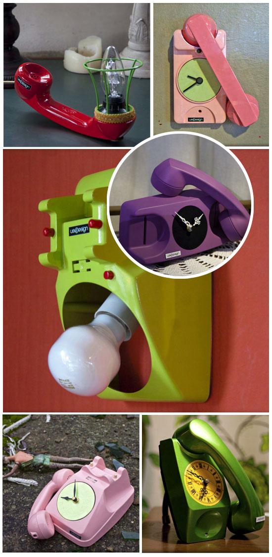 Téléphones recyclés en lampes ou en horloges