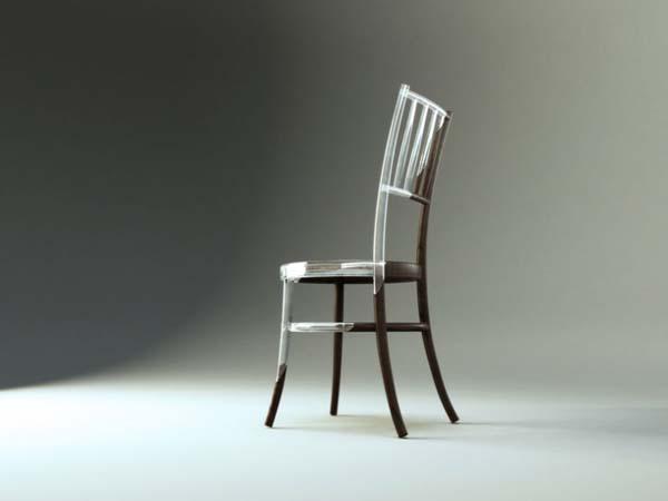 Chaise en bois et résine - profil