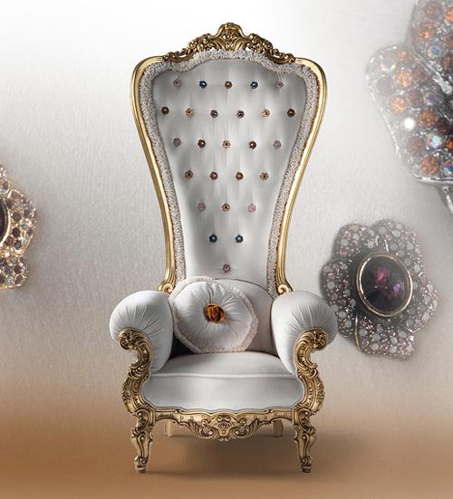Fauteuil trône Caspani blanc