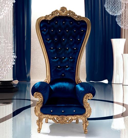 Fauteuil trône Caspani bleu