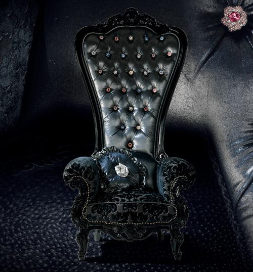 Fauteuil trône Caspani noir