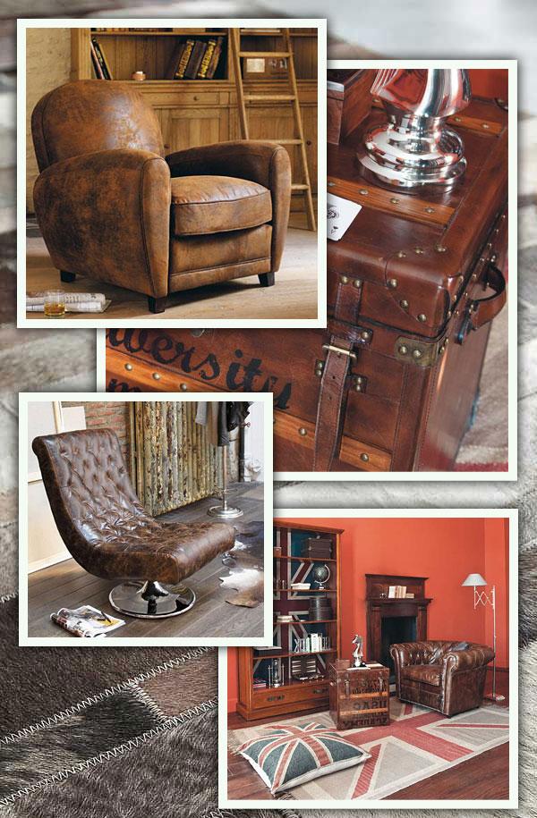 fauteuil et malle vintage