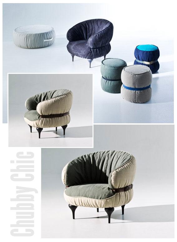 fauteuil, tabouret et pouf Chubby Chic
