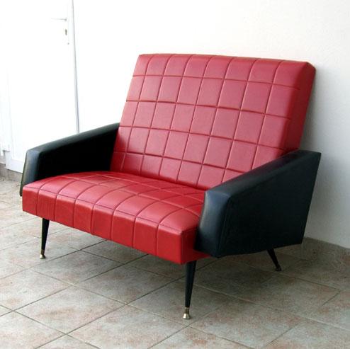 Canapé en Skaï années 60, 70