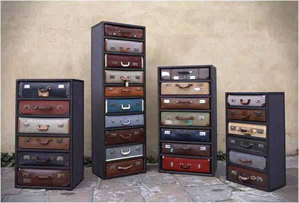 Armarios De Baño Romi:commodes avec tiroirs en valises vintages recyclées