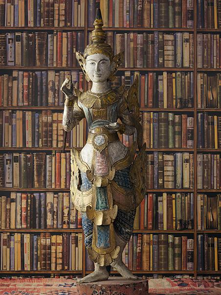 Papier peint bibliotheque en trompe l'oeil
