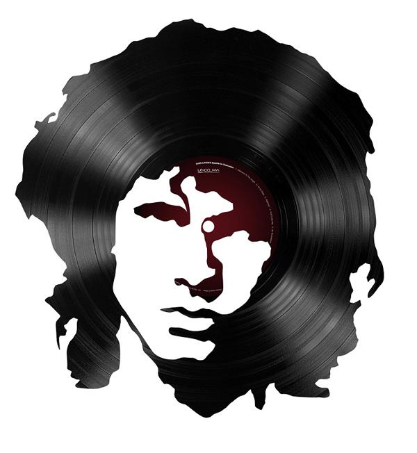 Portrait de Jim Morrison en disque vinyle