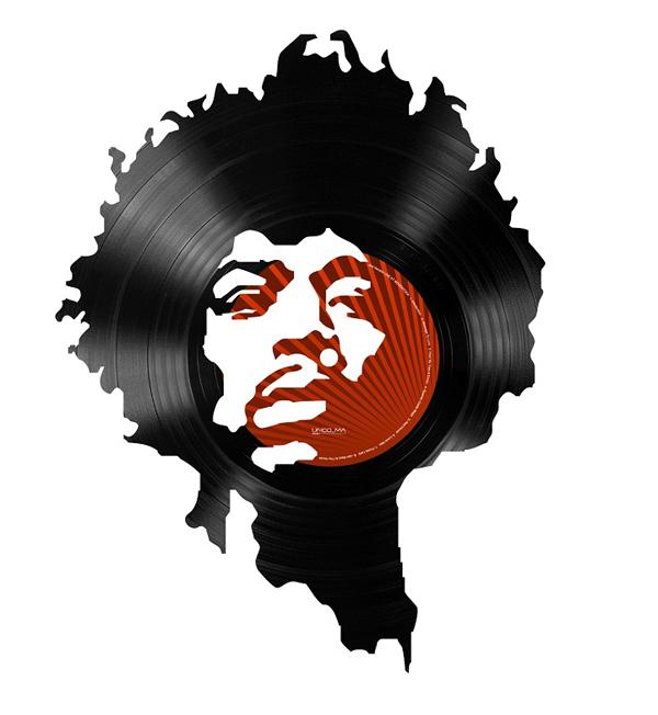 Portrait de Jimi hendrix en disque vinyle