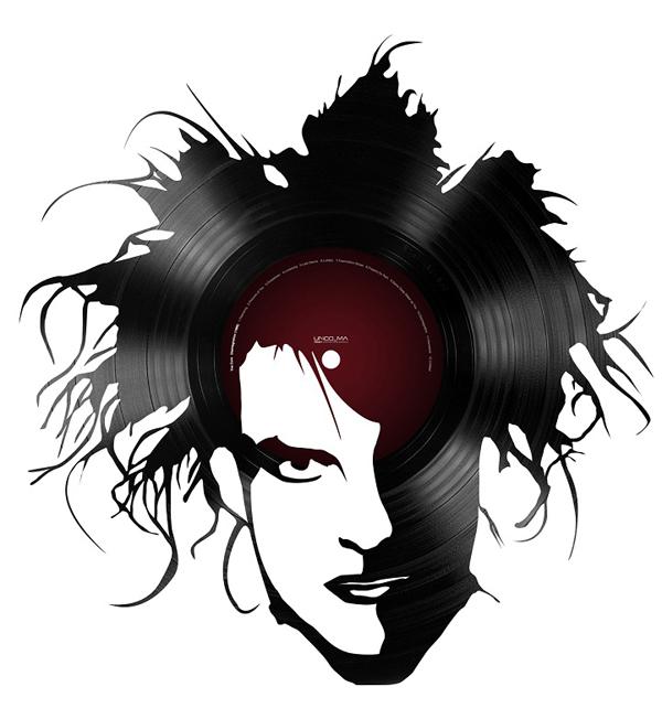 Portrait de Robert Plant the Cure en disque vinyle