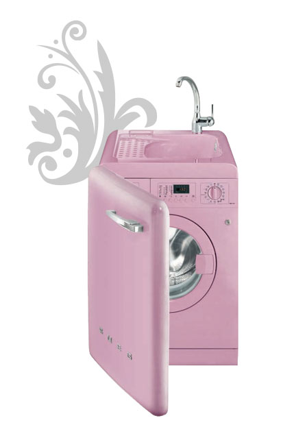 Lave-linge et lavabo Smeg design annes 50