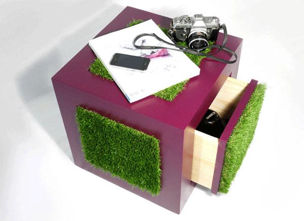 petit coin de verdure en forme de cube
