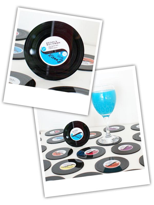 Sous-bock disque vinyle de déco