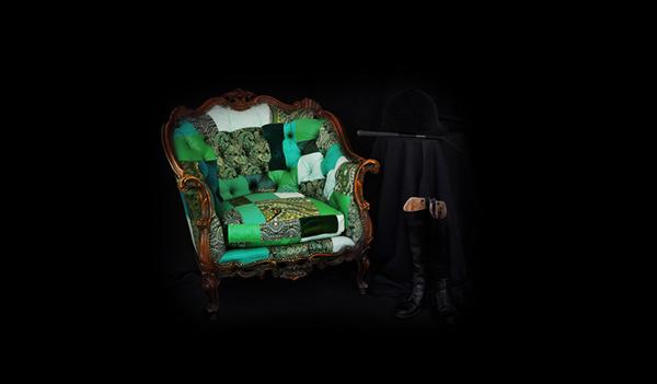 fauteuil design tissu et cuir par Leftovers