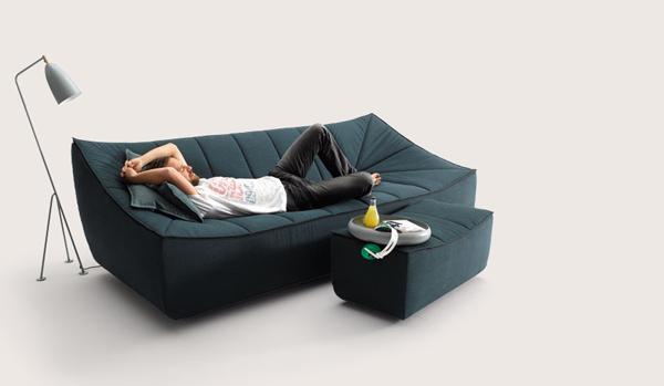 Canapé et fauteuil design en tissus Bahir pour Cor