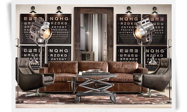 Canapé cuir et fauteuils design style industriel