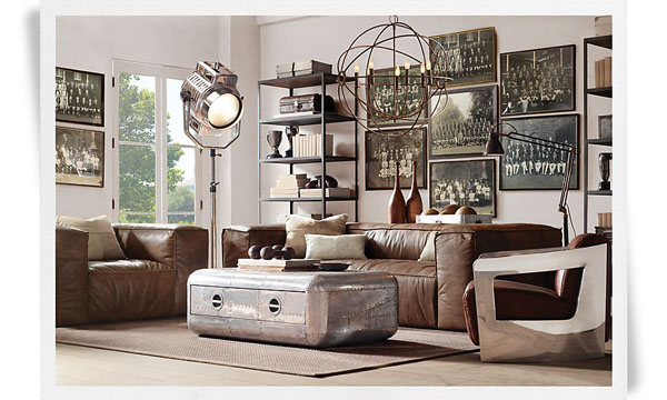 Canapé cuir design et fauteuil aviateurs