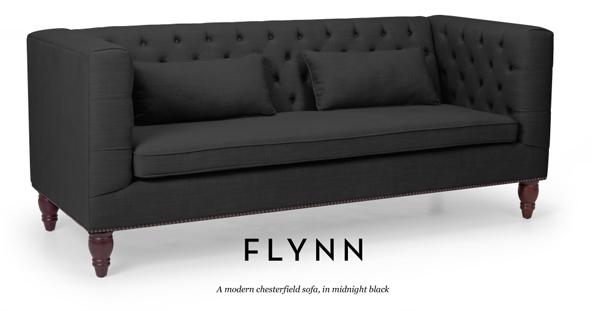 Canapé style Chesterfield modernisé noir