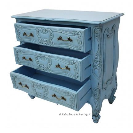 Commode classique rustique bleue