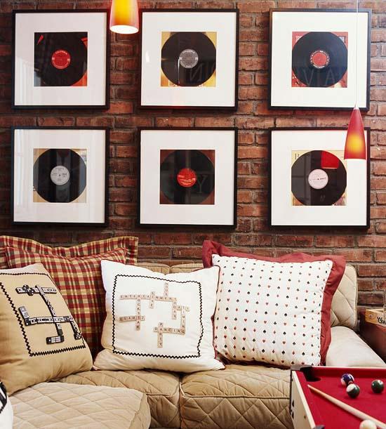 Déco disques vinyles encadrés