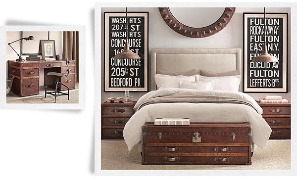 Chambre design avec malle en bois