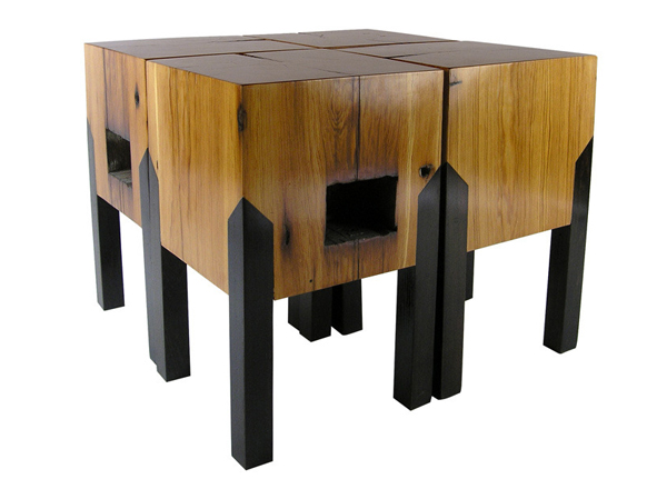 Meubles design en bois recycl tables basses tabourets for Meuble en bois recycle