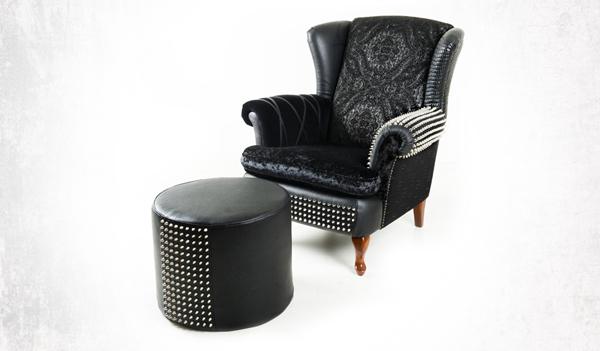 pouf cuir et fauteuil design par Leftovers