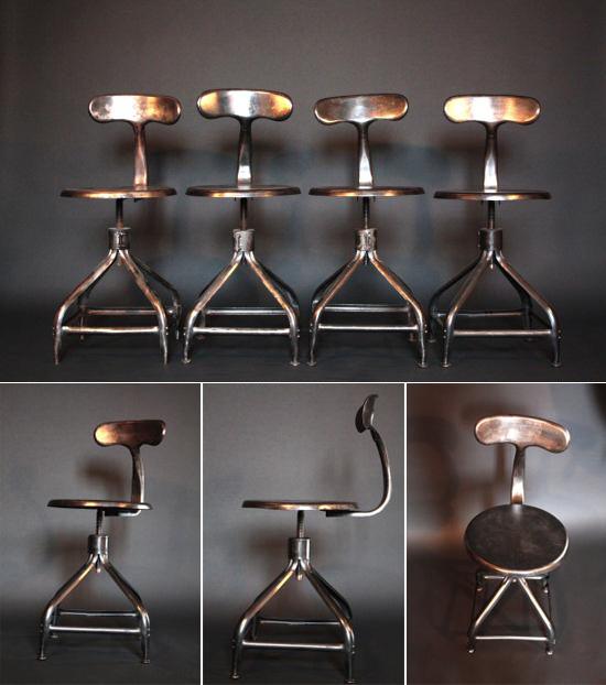 Chaise métal embouti style industriel