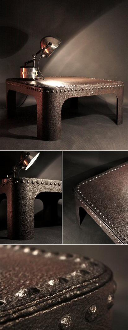 Table basse acier riveté style industriel