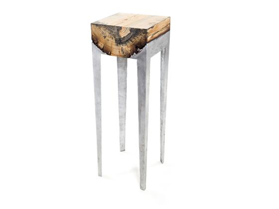 mobilier design bois et métal - Wood Casting par Hilla Shamia