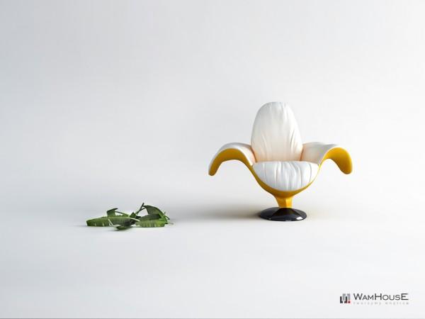 Fauteuil en forme de banane