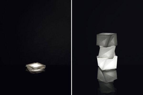 Art du pliage, les lampes in-ei d'Issey Miyake