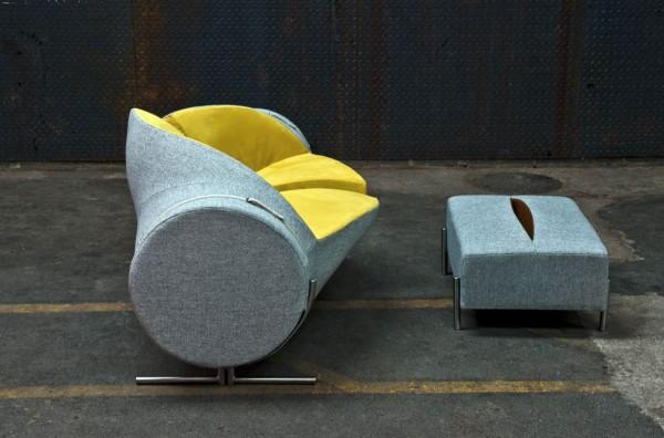 Canapé Slashed par le designer Charlotte Kingsnorth - vue de côté