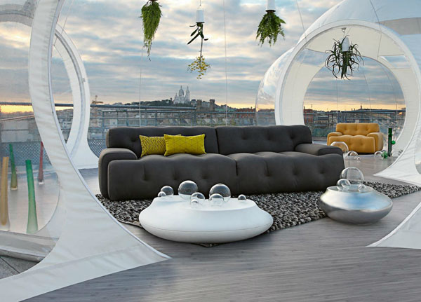 "Canapé design cuir ""Blogger"" de Roche Bobois. Photo : Michel Gibert"